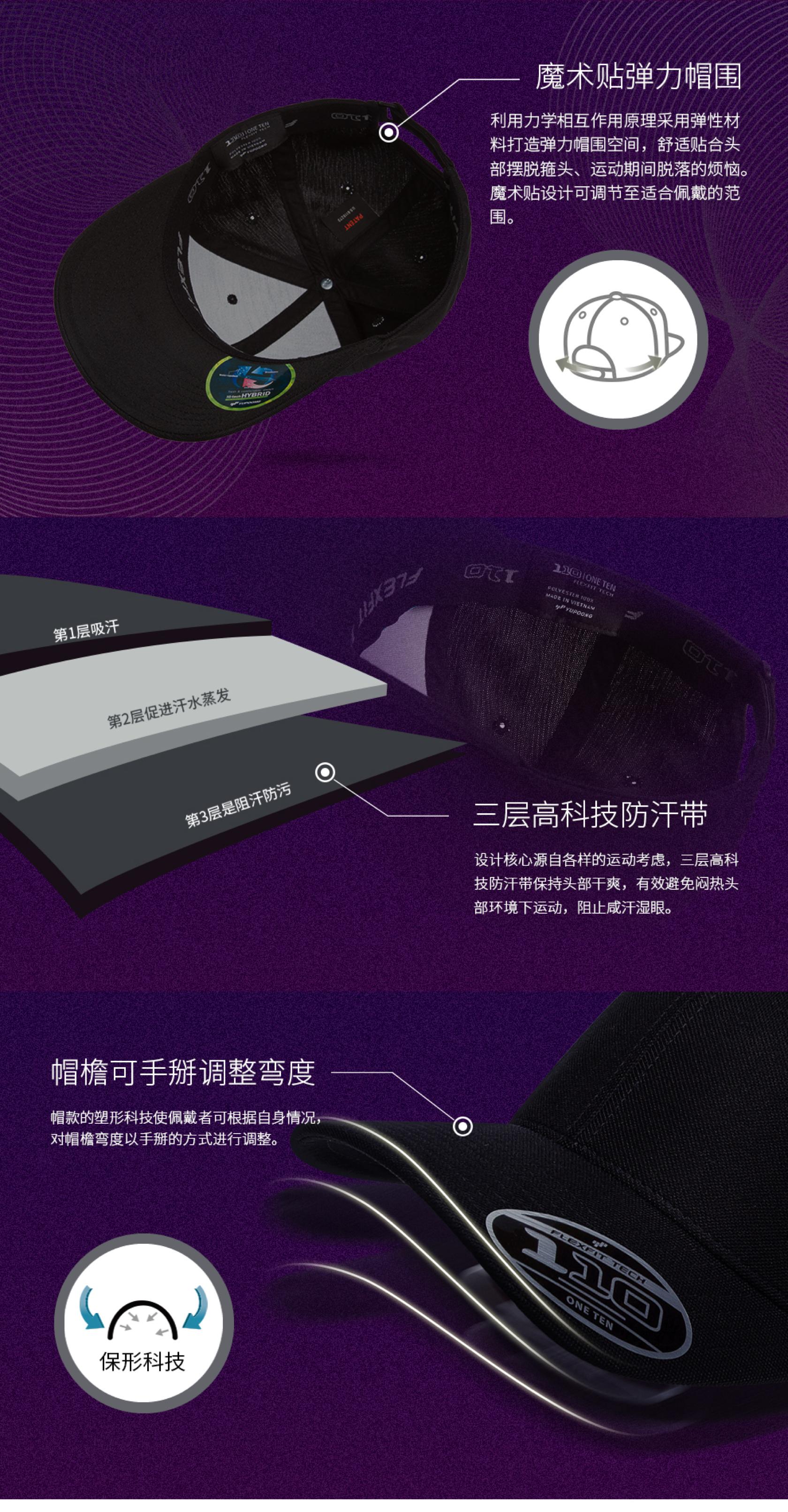 定制FLEXFIT运动弯檐棒球帽细节3