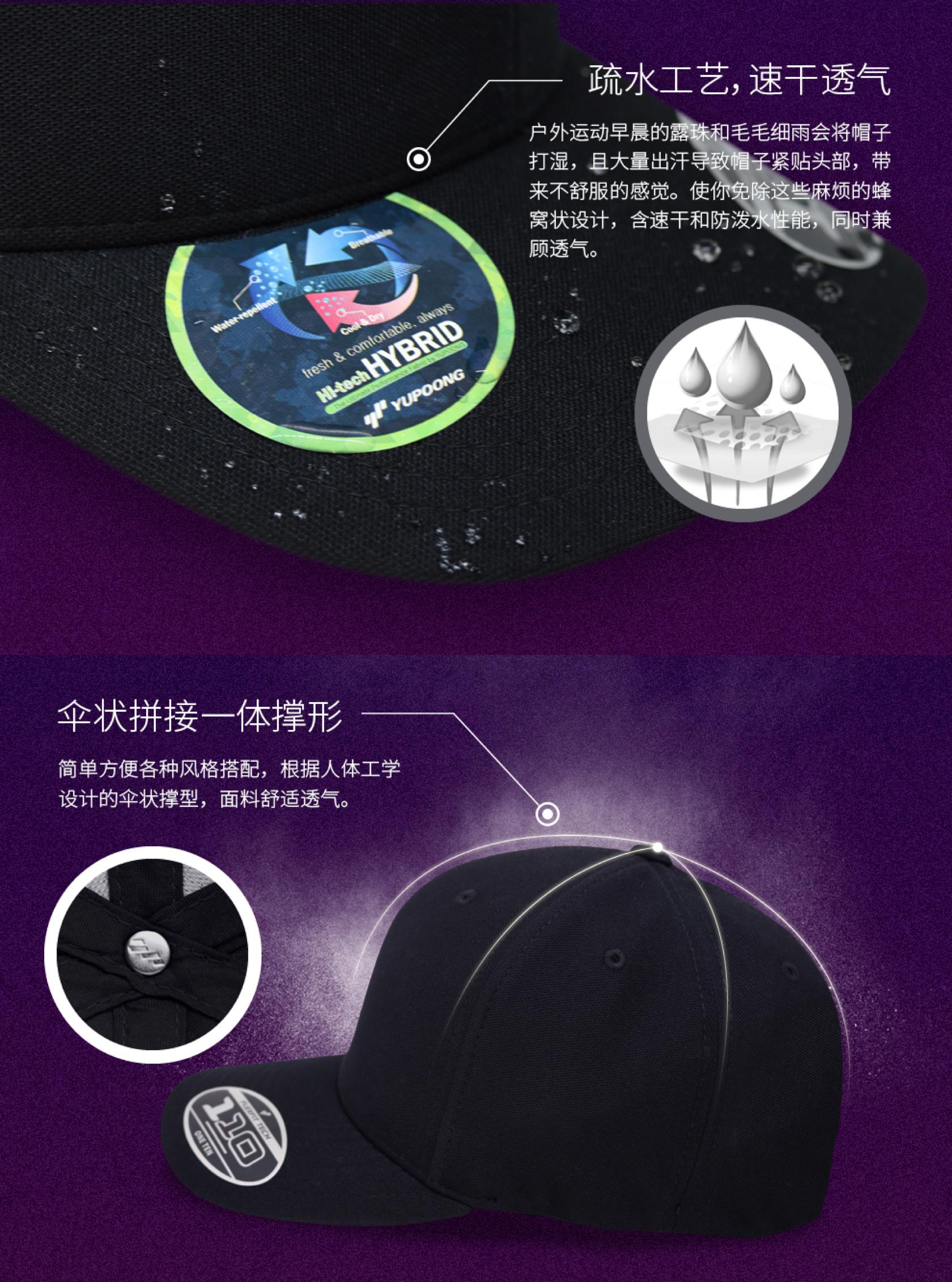 定制FLEXFIT运动弯檐棒球帽细节2