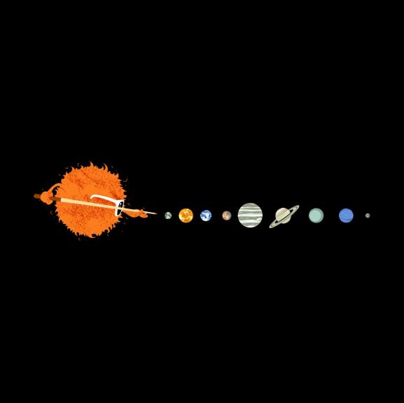 《太阳系中的桌球游戏》T恤图案设计