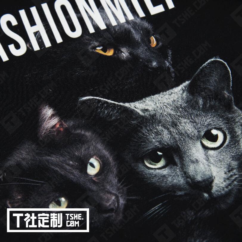 个性文化衫定制 猫图案t恤 文化衫定制 衣服定制 订做文化衫 直喷工艺